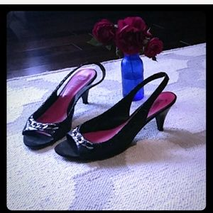 White House Black Market Shoes - Black faux snakeskin slingback kitten heel